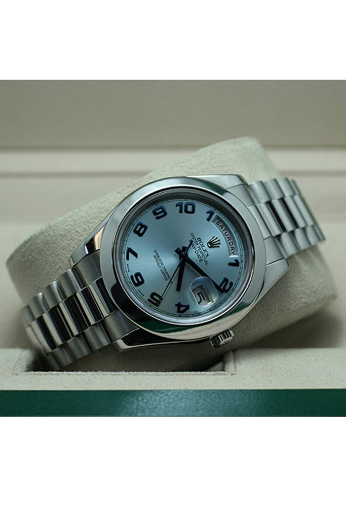Rolex Day Date Ii 41 Ice Blue Arab Dial Platinum President Automatic Mens Watch 218206