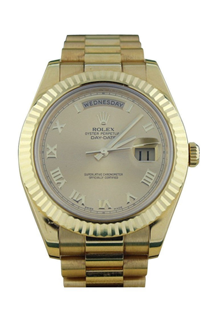 Rolex Day-Date Ii 41 President Champagne Roman Dial Mens Watch 218238 / None Pre-Owned-Watches
