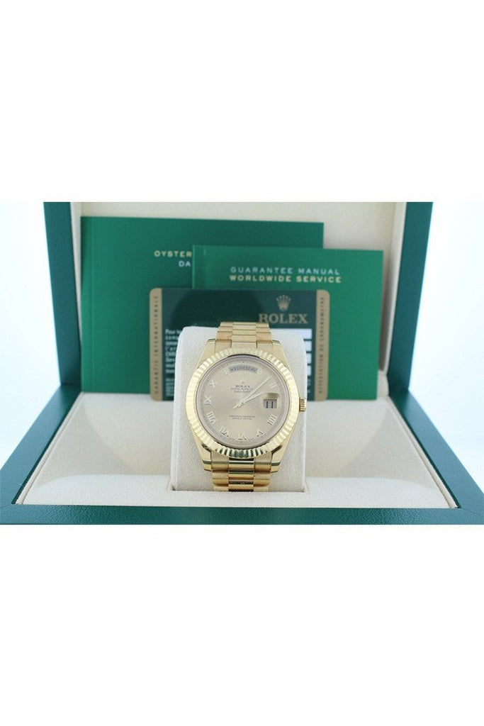 Rolex Day-Date Ii 41 President Champagne Roman Dial Mens Watch 218238 Pre-Owned-Watches