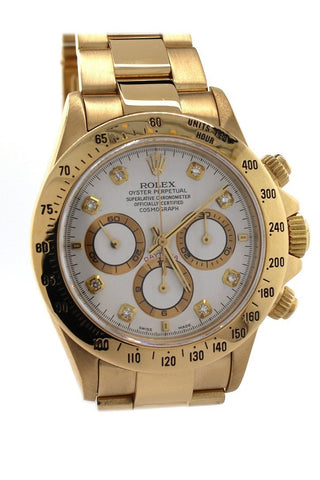 Rolex 16528 Daytona Zenith Gold White Diamonds Dial | WatchGuyNYC