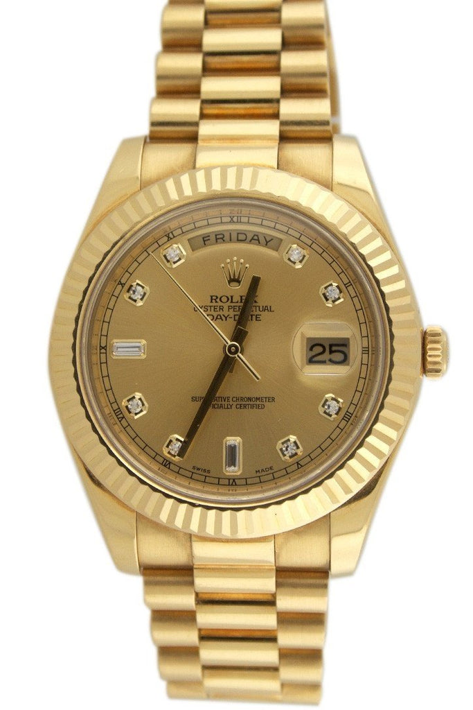 Rolex Day-Date Ii 41 Champagne Diamond Dial 18K Yellow Gold Mens Watch 218238 / None