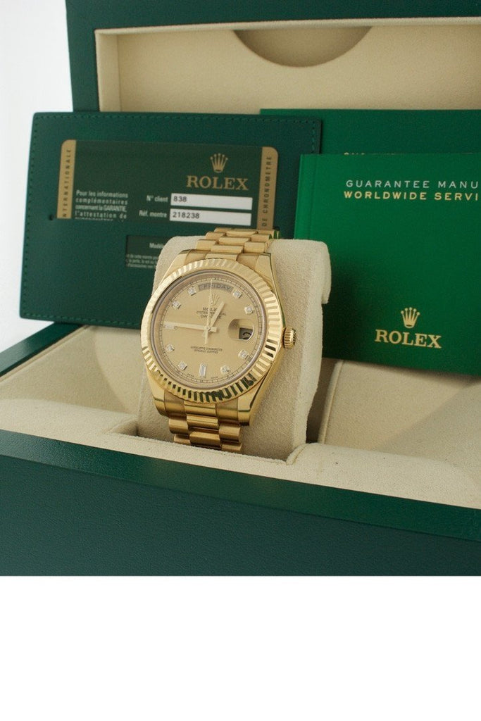 Rolex Day-Date Ii 41 Champagne Diamond Dial 18K Yellow Gold Mens Watch 218238 Pre-Owned-Watches