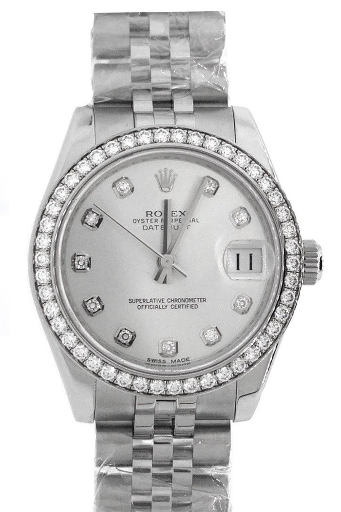 Rolex DateJust 31 Silver Diamond Dial Jubilee Watches 178384