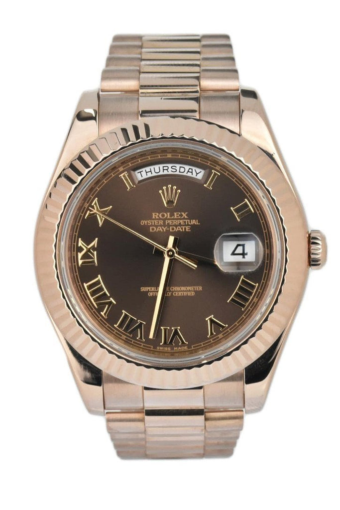 Rolex Day-Date Ii 41 President Chocolate Dial Rose Gold Mens Watch 218235 / None Pre-Owned-Watches