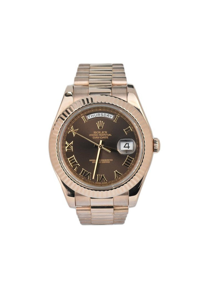 Rolex Day-Date Ii 41 President Chocolate Dial Rose Gold Mens Watch 218235 Pre-Owned-Watches