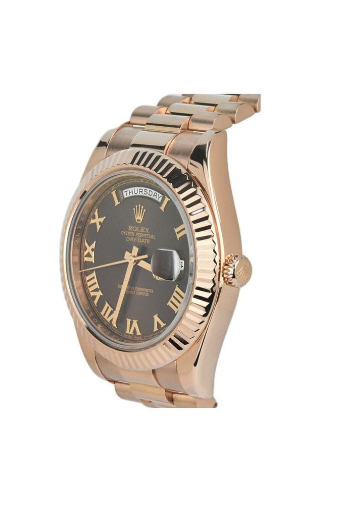 Rolex 218235 Day-Date II President Rose Gold Chocolate Dial Men's | WatchGuyNYC