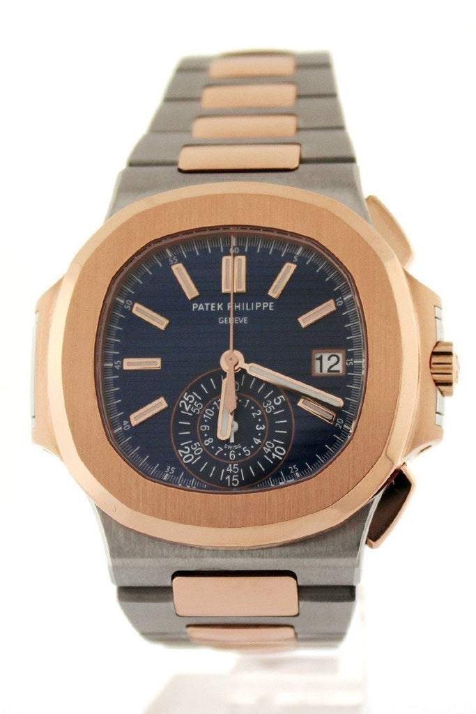 Patek Philippe Nautilus Mechanical Blue Dial Stainless Steel And 18Kt Rose Gold Mens Watch