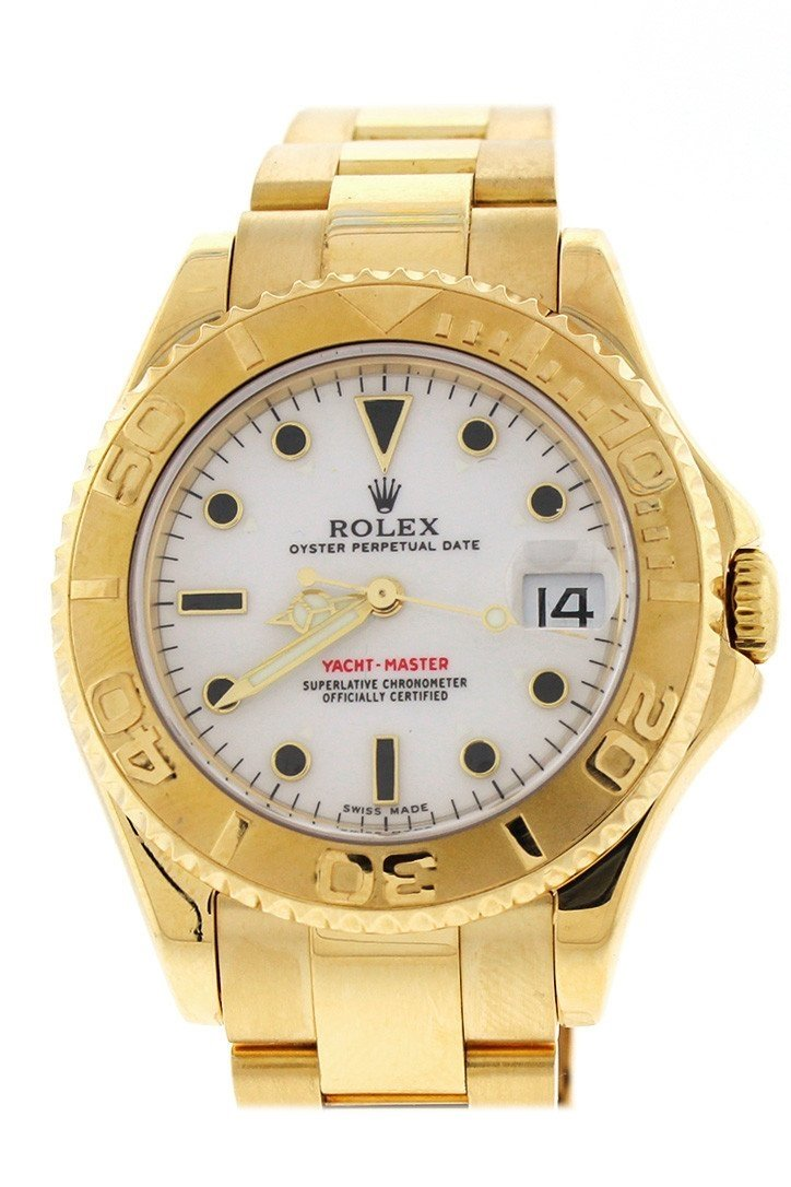 Rolex Yacht-Master White Dial Steel 18K Yellow Gold Ladies Watch 169628 / None Pre-Owned-Watches
