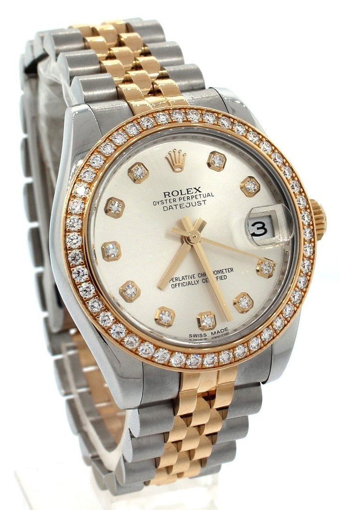 Rolex Datejust Lady 31 Silver Diamond Dial 18 Carat Yellow Gold Ladies Watch 178383