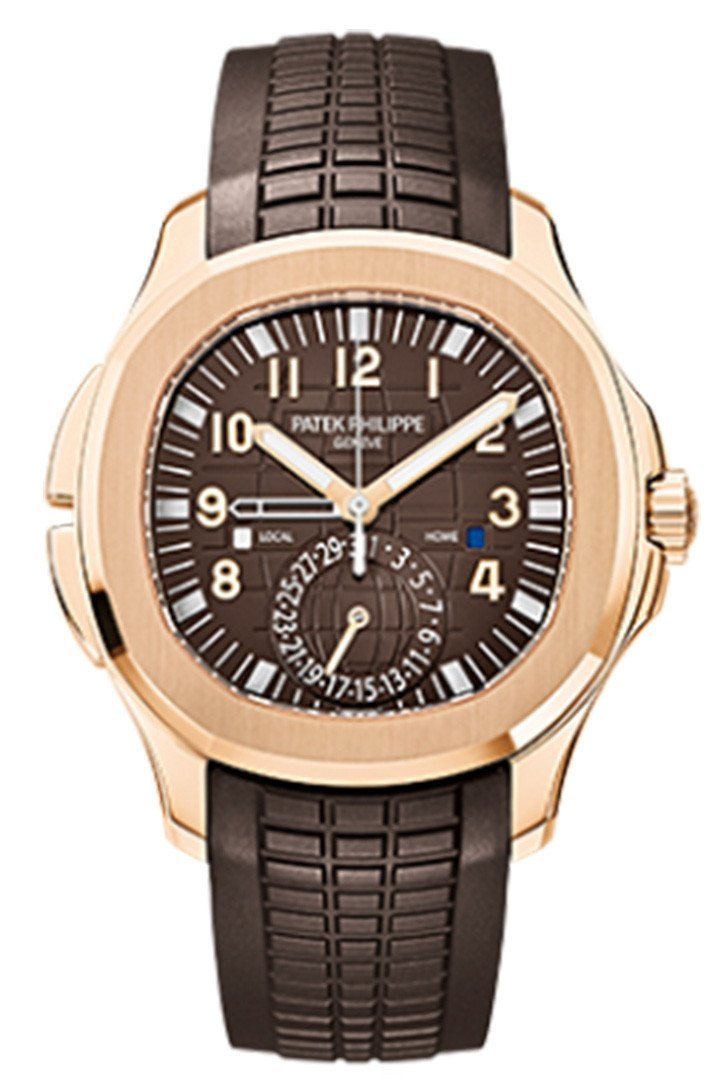 Patek Philippe Aquanaut Brown Embossed Arabic Dial Rose Gold Composite Mens Watch 5164R-001