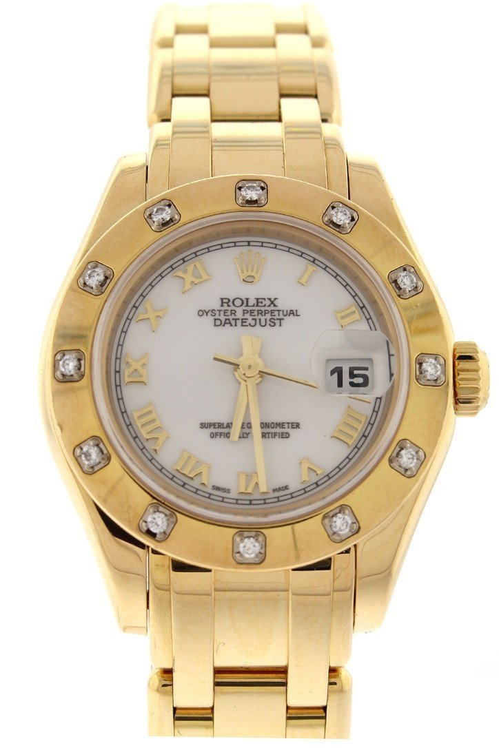 Rolex Oyster Perpetual Pearlmaster 18Kt Yellow Gold Diamond Ladies Watch 80318 White / None