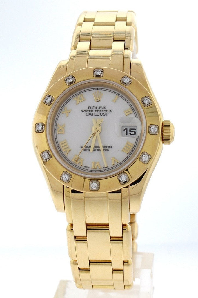 Rolex Oyster Perpetual Pearlmaster 18Kt Yellow Gold Diamond Ladies Watch 80318 Pre-Owned-Watches