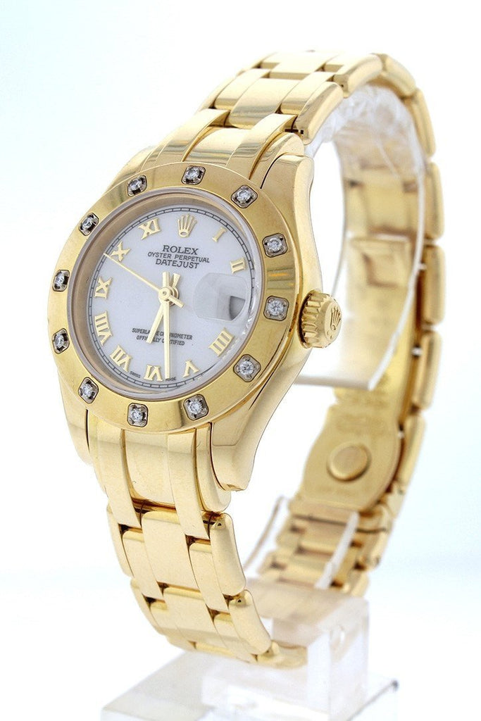 Rolex Oyster Perpetual Pearlmaster 18kt Yellow Gold Diamond Ladies Watch 80318