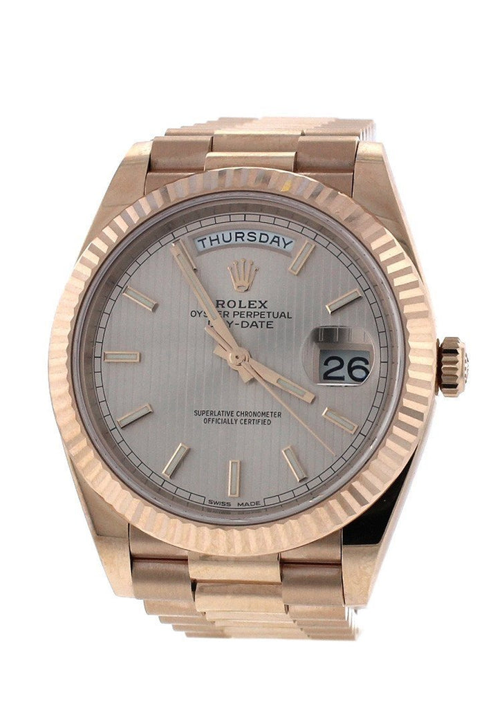 Rolex Day-Date 40 Sundust Stripe Dial 18K Everose Gold Men's Watch 228235