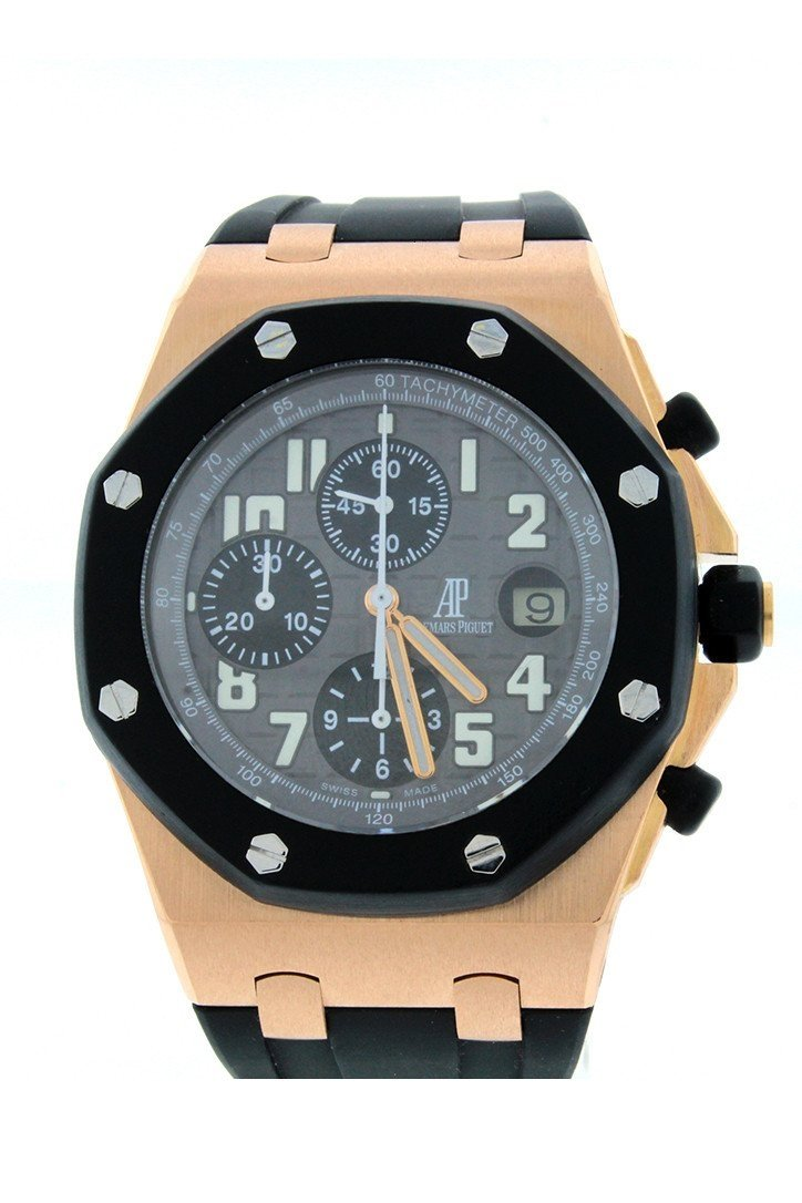 Audemars Piguet Royal Oak Offshore Black Dial 18Kt Rose Gold Rubber Chronograph Mens Watch