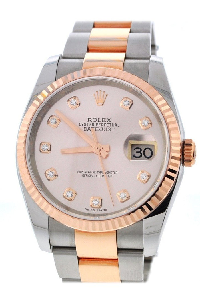 Rolex DateJust 36mm Pink set with Diamond Dial Watche 116231