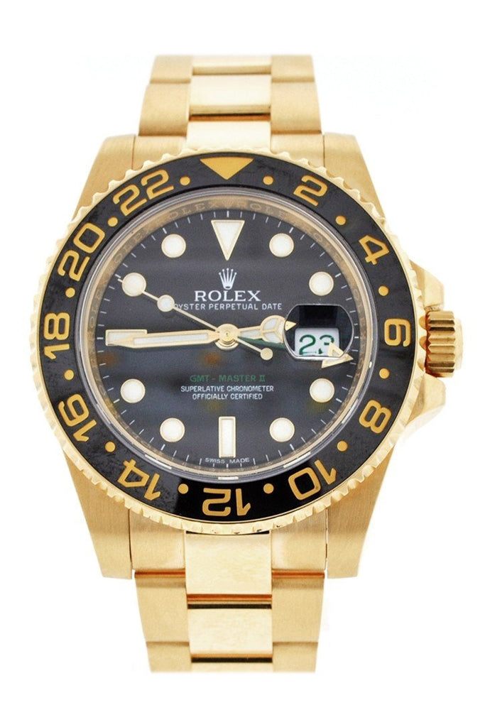 Rolex Gmt Master Ii Black Dial Bracelet 18Kt Yellow Gold Mens Watch 116718 / None Pre-Owned-Watches