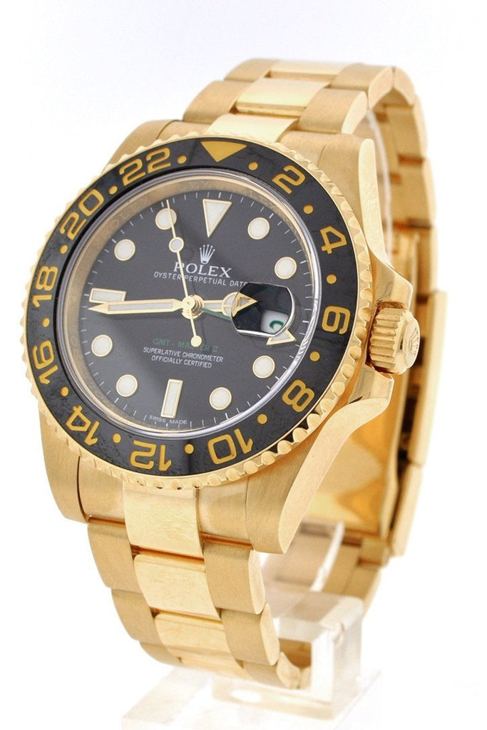 Rolex GMT Master II Black Dial Bracelet 18kt Yellow Gold Men's Watch 116718
