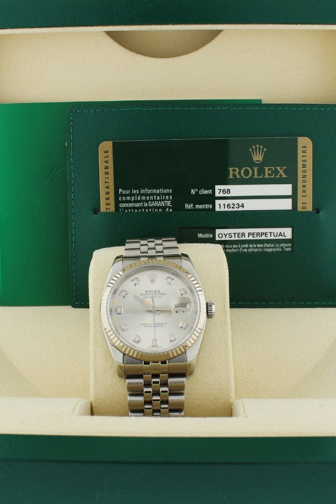 Rolex DateJust 36 Silver Diamond Dial 18k White Gold Bezel Watches 116234