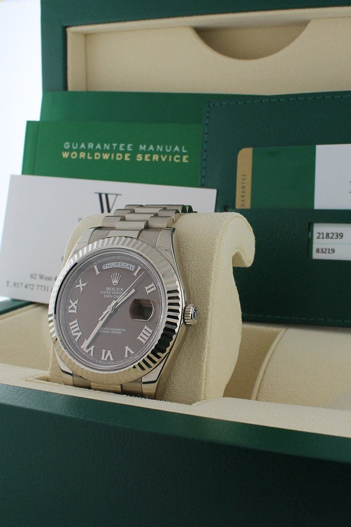 Rolex Day-Date Ii 41Mm President White Gold Chocolate Dial Mens Watch 218239 Pre-Owned-Watches