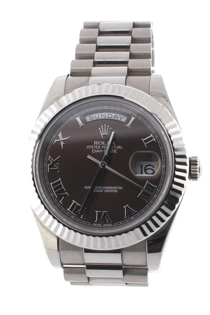 Rolex Day-Date II 41mm President White Gold Chocolate Dial Men's Watch 218239