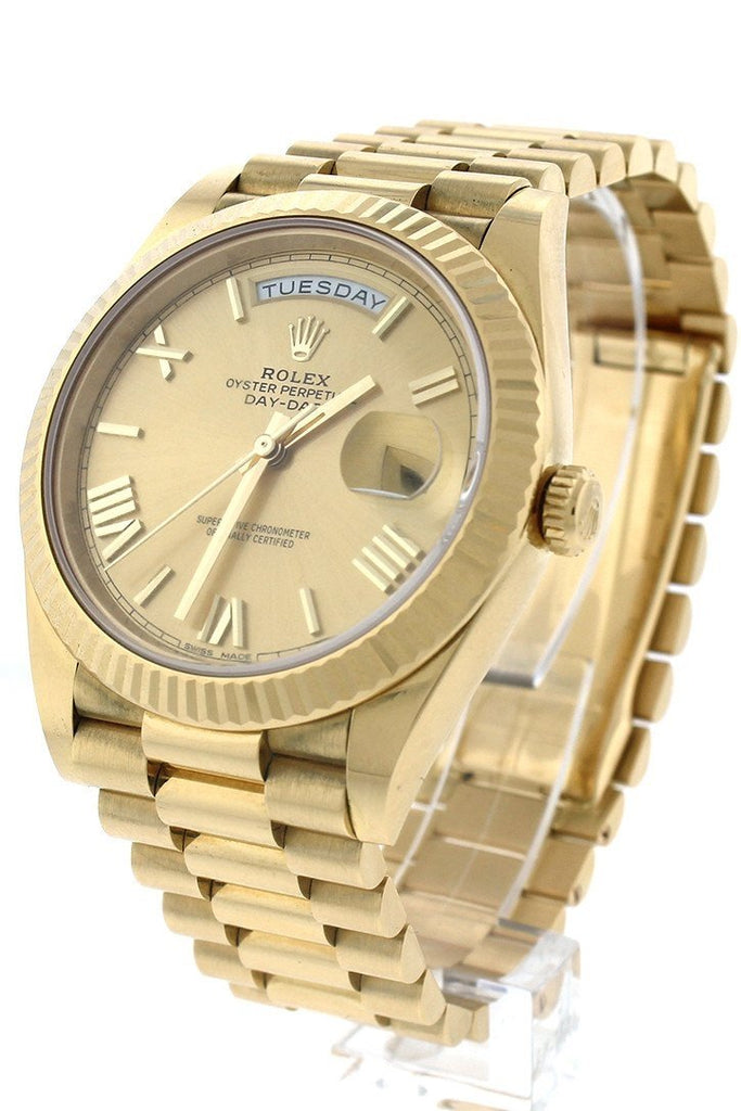 Rolex Day-Date 40 Champagne Roman Dial 18K Yellow Gold President Automatic Mens Watch 228238