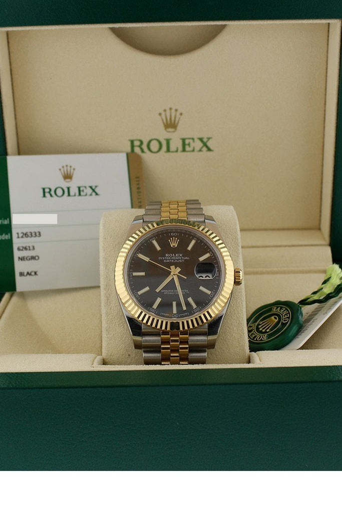 Rolex Datejust 41 Black Dial 18K Yellow Gold And Steel Watch 126333 Pre-Owned-Watches