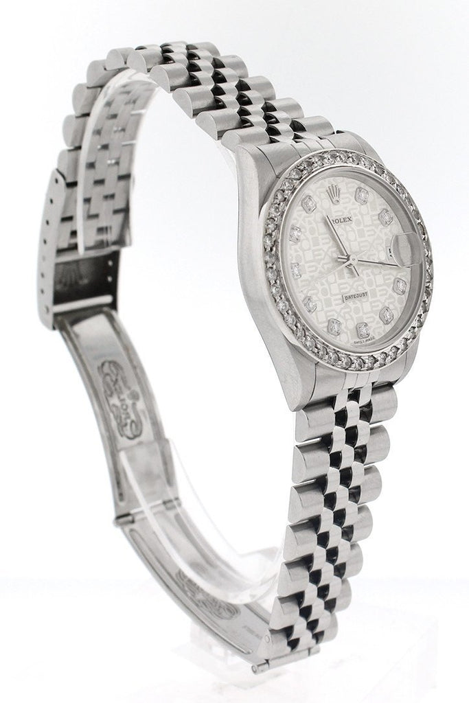 Custom Rolex Datejust Lady 31 Silver Diamond Dial Diamond Bezel Ladies Watch 178274