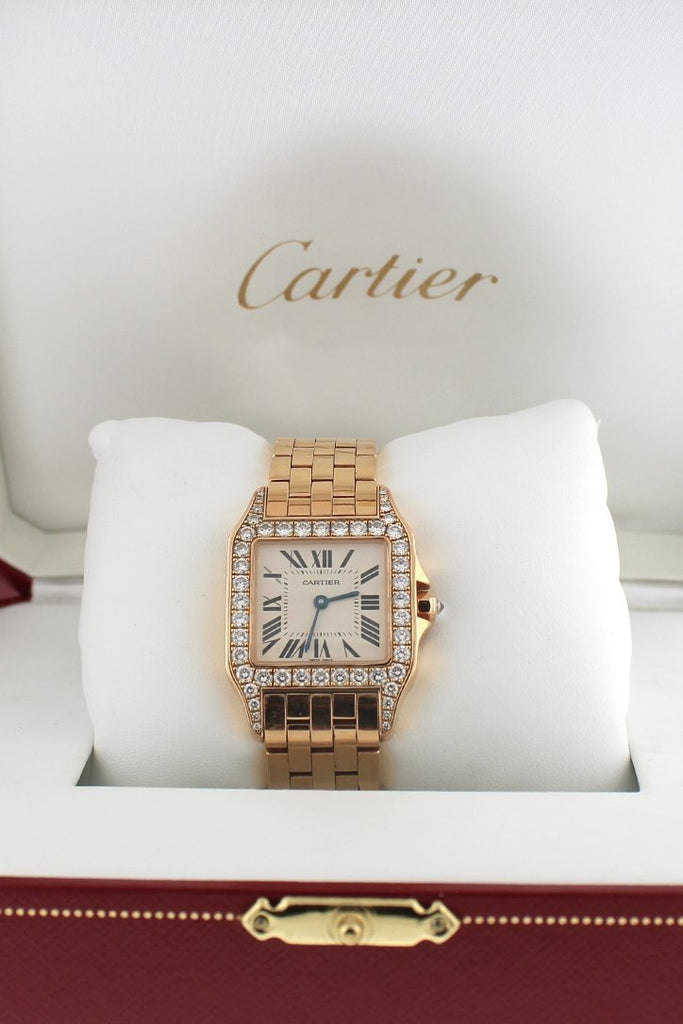 Cartier Santos Demoiselle 18Kt Rose Gold Diamond Large Ladies Watch Pre-Owned-Watches