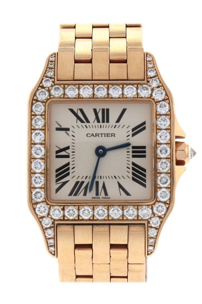 Cartier Santos Demoiselle 18kt Rose Gold Diamond Large Ladies Watch