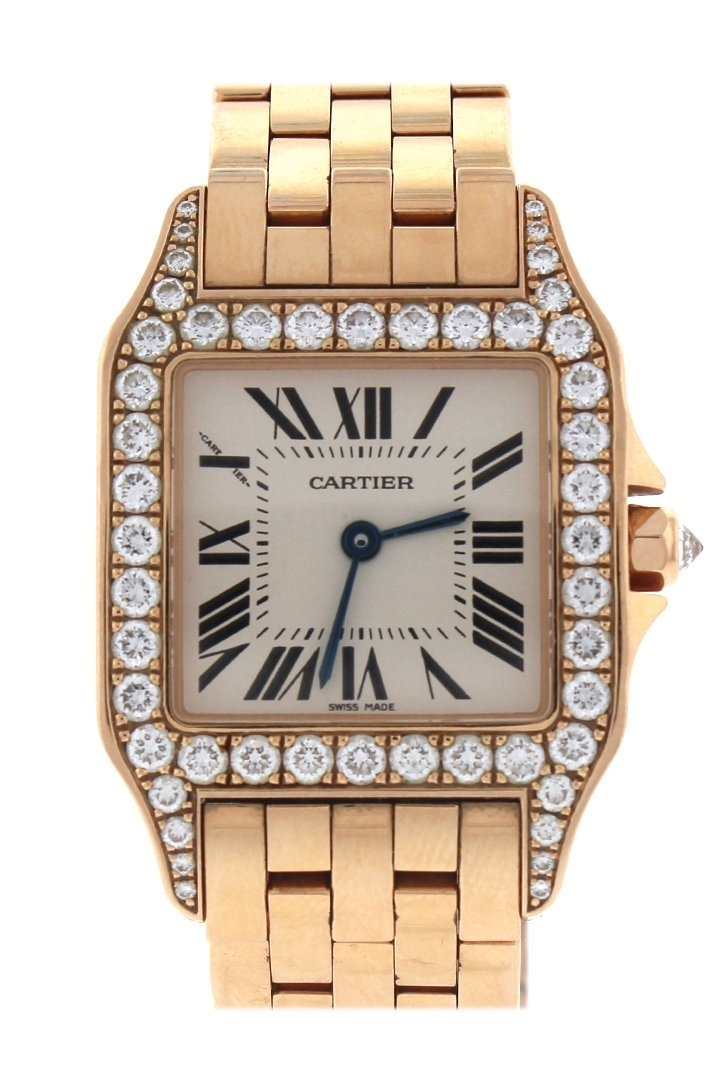 Cartier Santos Demoiselle 18Kt Rose Gold Diamond Large Ladies Watch Silver / None Pre-Owned-Watches