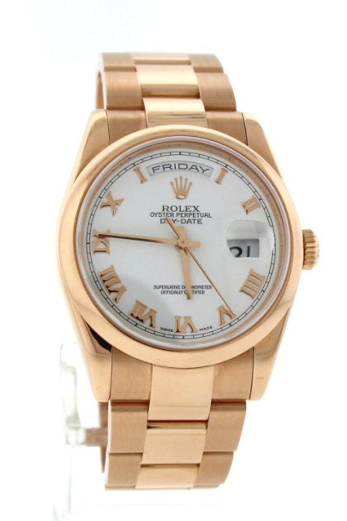 Rolex Day-Date 36 18 Ct Everose Gold Watch 118205 Pre Owned Pre-Owned-Watches