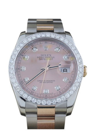 Rolex Custom Datejust 36 Pink Diamond Dial Dia Bezel 116201