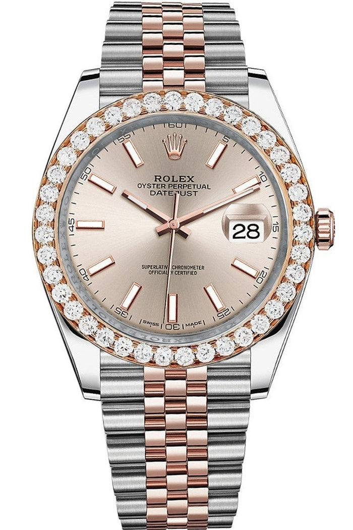 Rolex Custom Diamond Bezel Datejust 41 Rose Gold Men's 126331 | WatchGuyNYC