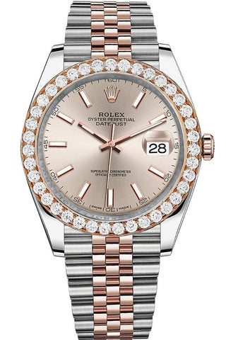 Rolex Custom Diamond Bezel Datejust 41mm Two Tone Rose Gold Jubilee Men's Watch 126331