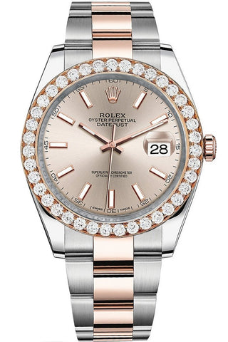 Rolex Custom Diamond Bezel Datejust 41mm Two Tone Rose Gold Oyster Men's Watch 126331