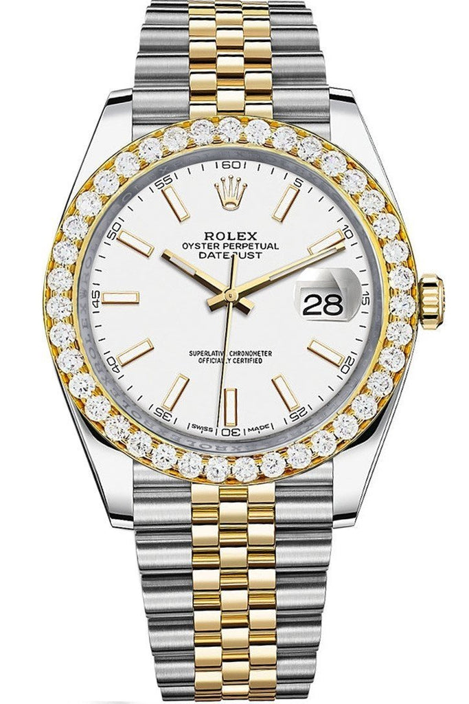 Rolex Custom Diamond Bezel Datejust 41Mm White Dial Two Tone Jubilee Mens Watch 126333 / Si None