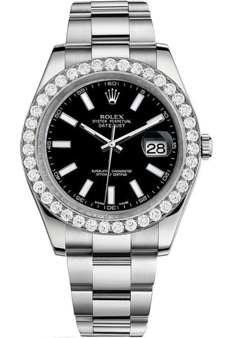 Rolex Custom Diamond Bezel Datejust 41 Steel Men 116300 | WatchGuyNYC