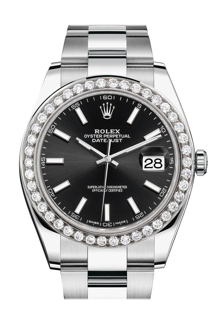 Rolex Custom Diamond Bezel Datejust 41Mm Black Dial Steel Oyster Mens Watch 126300 / Si None