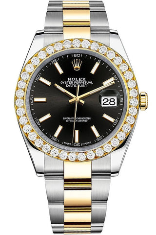 Rolex Custom Diamond Bezel Datejust 41mm Black Dial Two Tone Oyster Men's Watch 126333