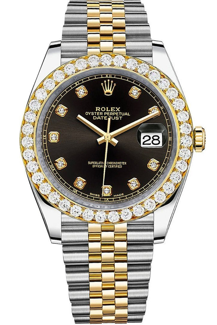 Rolex Custom Diamond Bezel Datejust 41mm Black set with Diamond Dial Two Tone Jubilee Men's Watch 126333