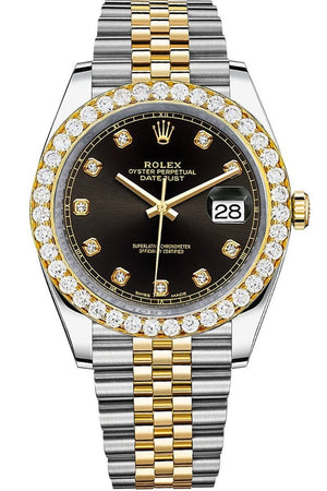 Rolex Custom Diamond Bezel Datejust 41Mm Black Set With Dial Two Tone Jubilee Mens Watch 126333 / Si