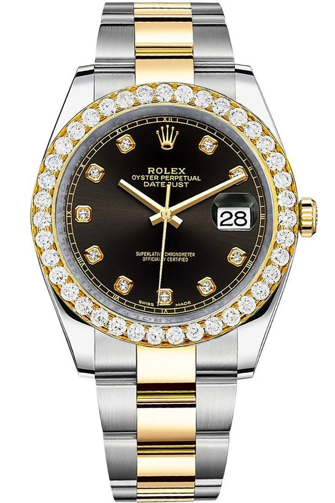Rolex Custom Diamond Bezel Datejust 41Mm Black Set With Dial Two Tone Oyster Mens Watch 126333 / Si
