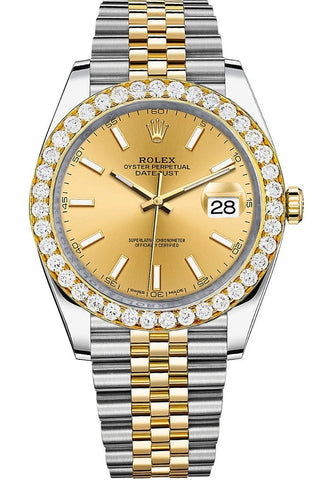 Rolex Custom Diamond Bezel Datejust 41mm Champagne Dial Two Tone Jubilee Men's Watch 126333