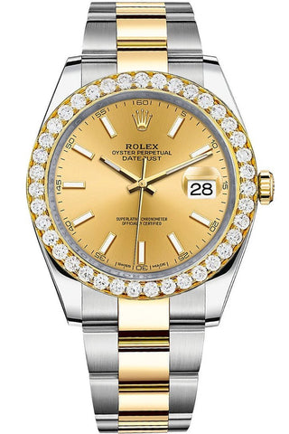 Rolex Custom Diamond Bezel Datejust 41mm Champagne Dial Two Tone Oyster Men's Watch 126333