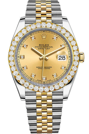 Rolex Custom Diamond Bezel Datejust 41Mm Champagne Set With Dial Two Tone Jubilee Mens Watch 126333