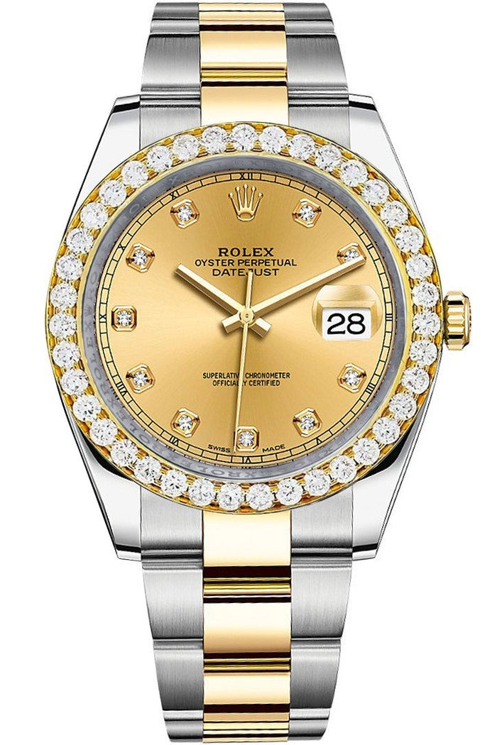 Rolex Custom Diamond Bezel Datejust 41 Champagne Diamond Dial 126333