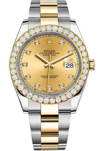 Rolex Custom Diamond Bezel Datejust 41mm Champagne set with Diamond Dial Two Tone Oyster Men's Watch 126333