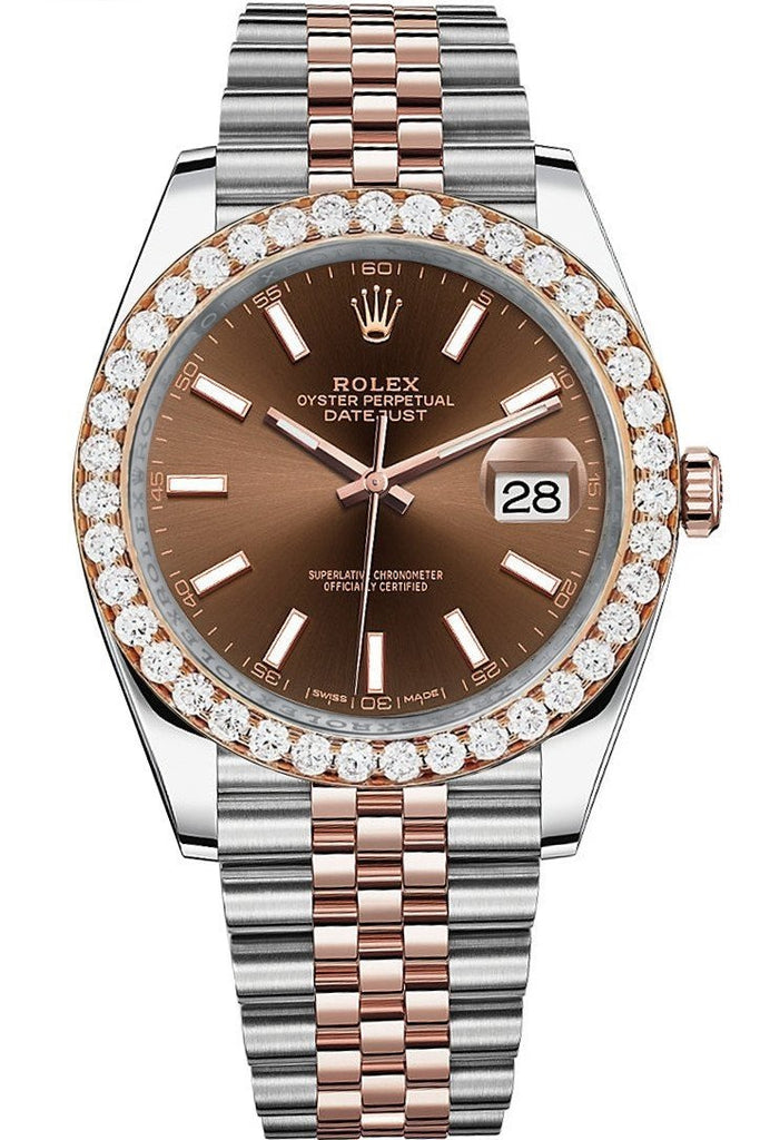 Rolex Custom Diamond Bezel Datejust 41Mm Chocolate Dial Two Tone Rose Gold Jubilee Mens Watch 126331