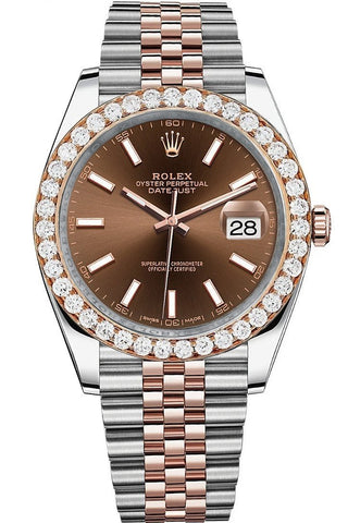 Rolex Custom Diamond Bezel Datejust 41mm Chocolate Dial Two Tone Rose Gold Jubilee Men's Watch 126331